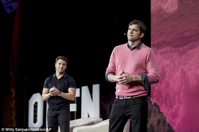 Professional: After guiding the woman off the stage, Ashton, who was seated next to Airbnb founder Brian Chesky, began to rally the crowd and reiterate the importance of inclusion and acceptance
