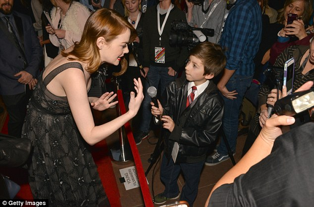 Hello young man: The actress was in high spirits as she greeted members of the press