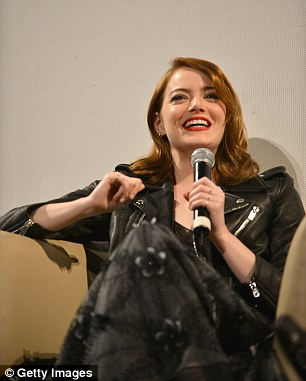 Let's talk:On a chilly night Emma soon covered up in a studded leather jacket before taking to the stage, where she fielded questions during a brief Q&A