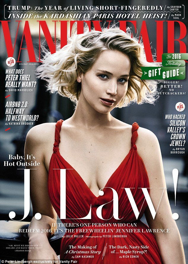 Glorious: The actress wore a plunging red number for a vintage look to her covershoot