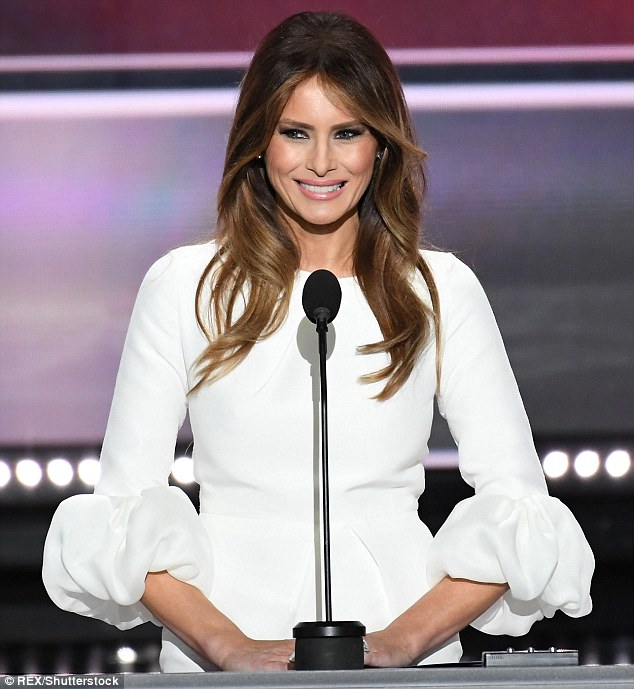 The Maybellline ambassador's dig refers to accusations that Melania plagiarized Michelle Obama's speech at the Republican National Convention; Melania Trump in July at RNC