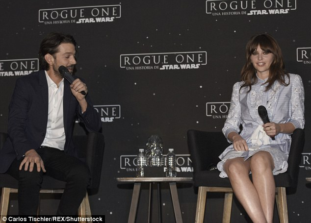 Promotion: Diego Luna and Felicity Jones spoke on stage during a panel at the conference