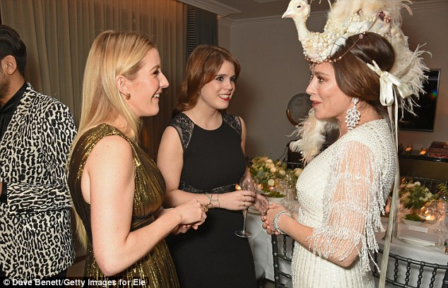 Chatting away: Other guests already at the bash as Elizabeth headed to the event included Ellie Goulding, Anna Friel and Princess Eugenie