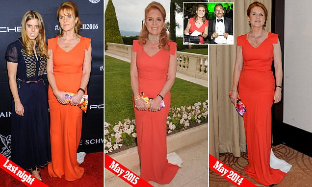 Sarah Ferguson recycles her favourite orange gown at star-studded charity ball in NYC
