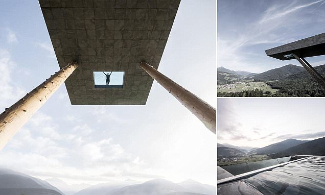 Hotel Hubertus' swimming pool juts out 40 feet above the ground and has a glass bottom