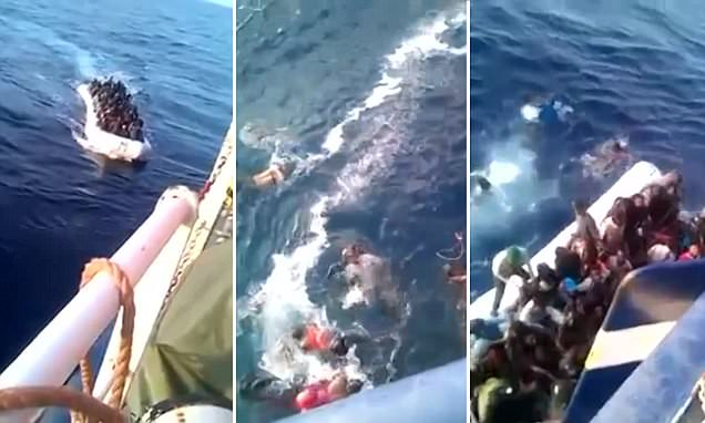 Migrant boat crashes into the side of a Tunisian fishing trawler as many drown