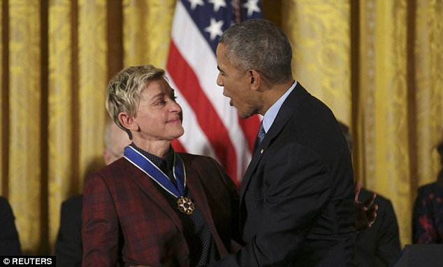 Her big moment: Ellen beamed with pride as the President talked to her