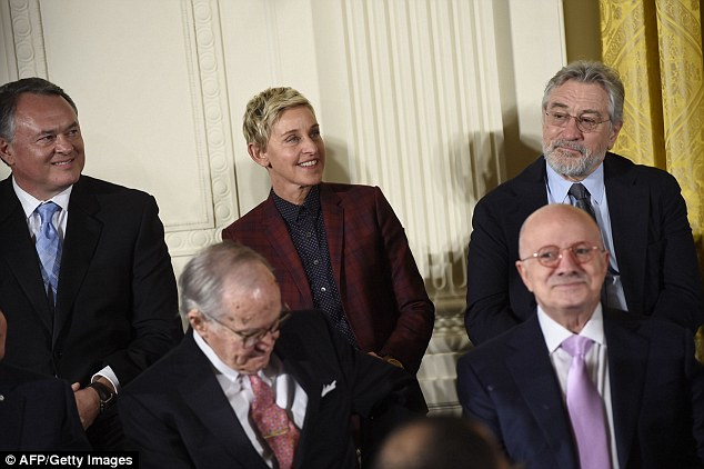 There she is! The blonde trailblazer stood next to actor Robert De Niro