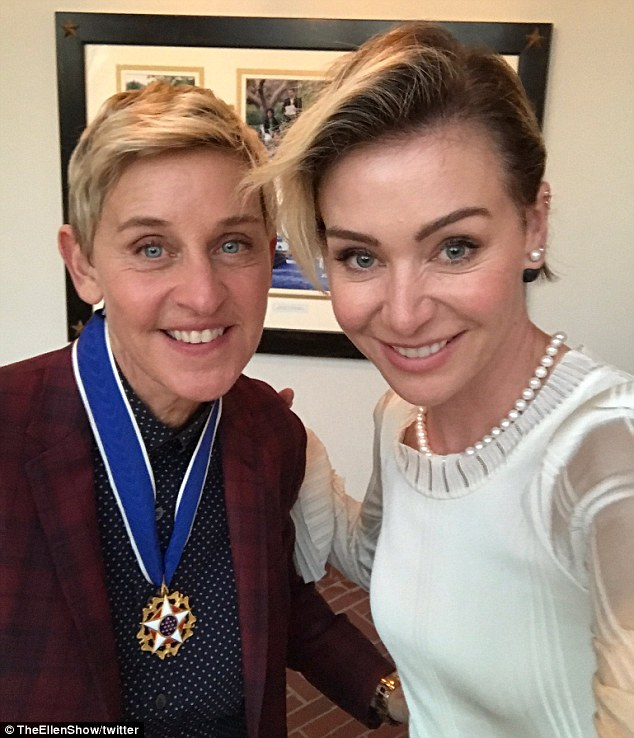 Still joking: Ellen posted his snap with Portia on Twitter saying, 'Barack Obama just awarded me the #MedalofFreedom. I hope it serves as an ID. I have no idea how I'm getting home'