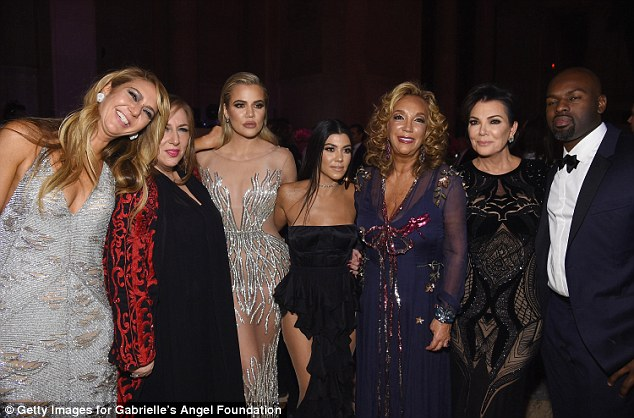 Glam event: Khloe and Kourtney and their mother Kris Jenner and her boyfriend Corey Gamble (far right) also mingled with Ofira Sandberg, Lorraine Schwartz and Denise Rich