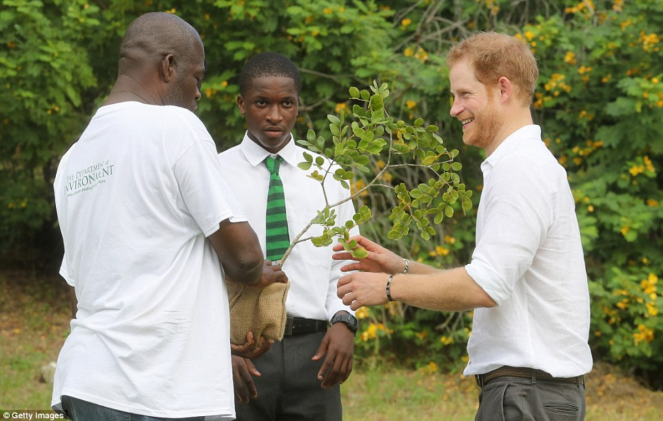 He was photographed at theQueen Victoria Park Botanical Gardens on the third day of an official visit to the Caribbean