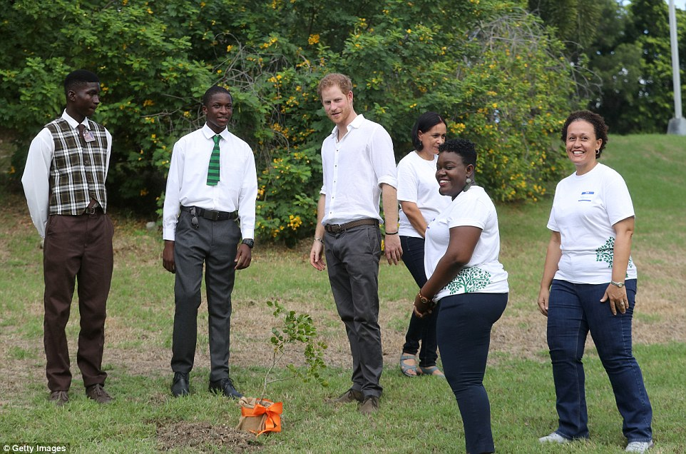 The 32-year-old prince was seen stepping back to admire his handiwork at one point, after helping to plant saplings