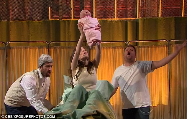 Congratulations! The pair then recreate an iconic Lion King moment as the actress 'gives birth' to his child to the tune of Circle Of Life