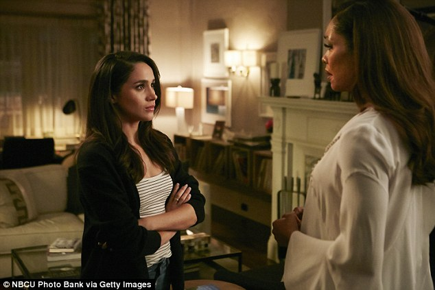 Meghan's family has said that they are happy that she found the world's most eligible bachelor. Meghan is pictured during a scene from Suits