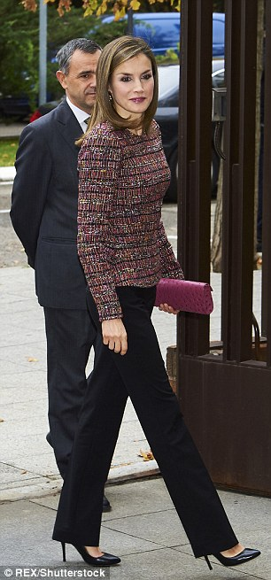 She may have been wearing skirts and dresses lately but today Letizia wore the trousers