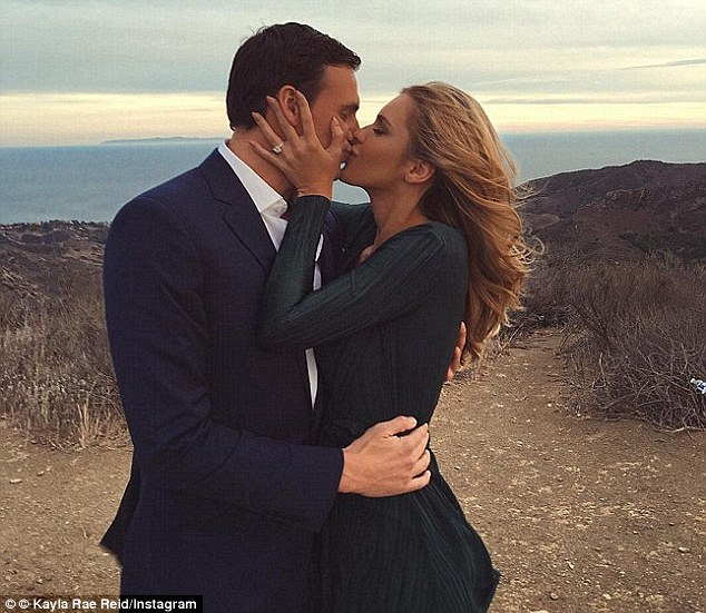 So happy: The pair, who started dating in January, announced their engagement in separate Instagram posts shared with followers in October