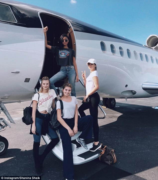 Jet-setters: Shanina flew to the Bahamas for a trip with fellow model pals via private jet