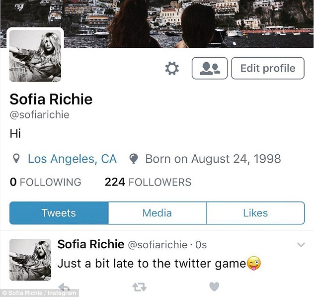 Late to the game: Sofia also launched a Twitter account later on Monday and announced the news on her Instagram