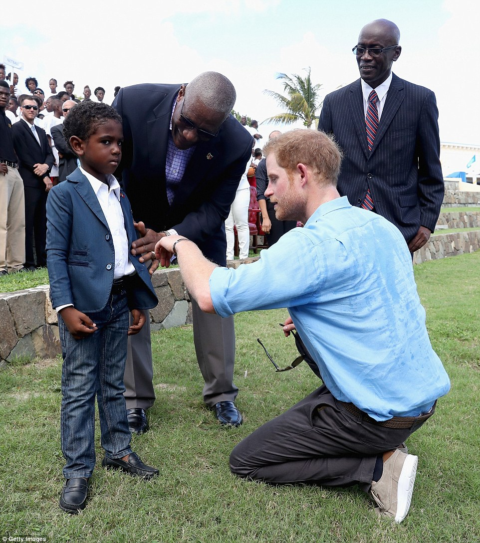 Unsure? A smartly dressed young man looked a little nervous as he met the British prince
