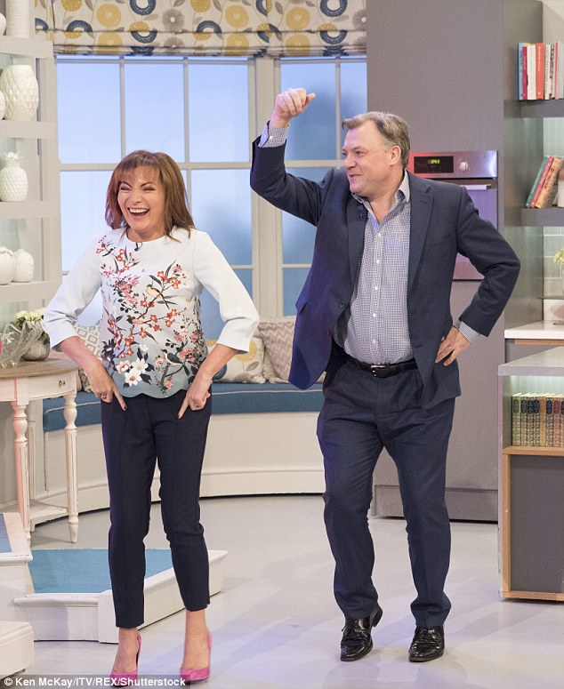 Giving it his all: Ed Balls,49, is adamant he won't 'do a John Sergeant' and be forced off the show, during an interview with Lorraine Kelly on Tuesday