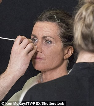 The beginning: The make-up team got to work with complex prosthetics, giving Susanna realistic, 3D wrinkles and imperfections