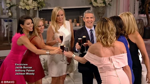 Drink up: The reunion ended with everyone at least getting together for a toast