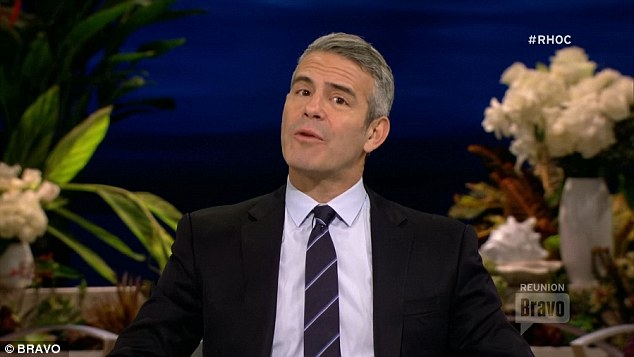 In the middle: Andy Cohen hosted the RHOC reunion show