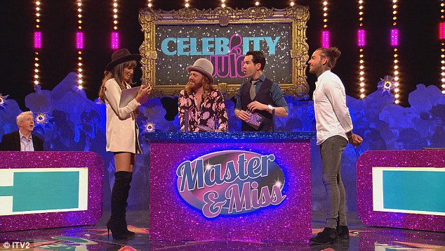 Fun and games: The pair took part in a game of Mr & Mrs, compared by Lemon and fellow guest Jimmy Carr