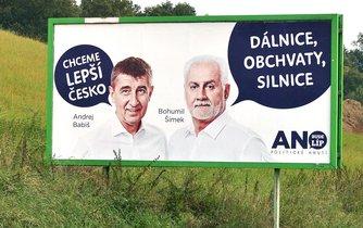 Billboard hnutí ANO v předvolební kampani do krajských voleb 2016.
