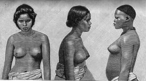 3 verschiedene halbnackte Frauen: Malabaresin, Australierin und Magungo