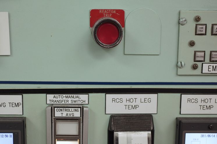 "The ""Reactor Trip"" button seen during a tour of the Crystal River Nuclear Plant held for broadcast and print media on June 14, 2011. The Nuclear Operator explained that the button is pressed in an emergency shutdown situation, which would cause control rods to free-fall into the reactor and stop the nuclear reaction."