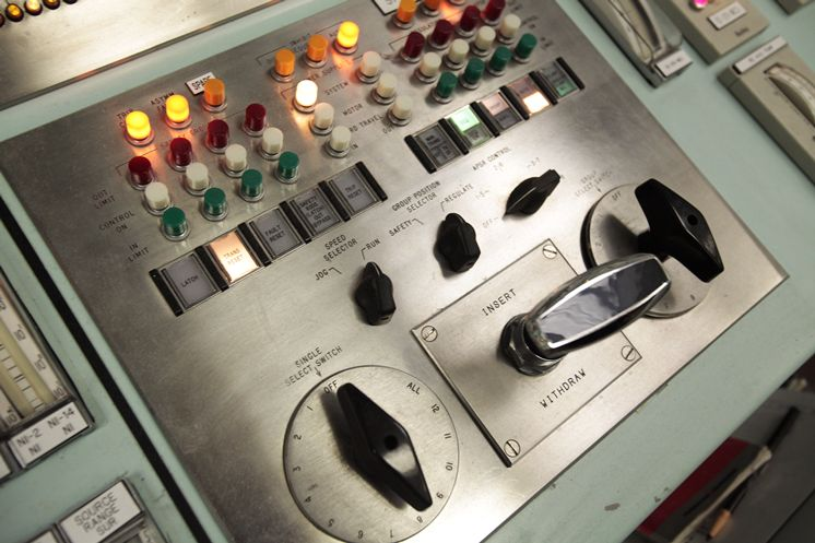 The fuel rod control in the control room seen during a tour of the Crystal River Nuclear Plant held for broadcast and print media on June 14, 2011.