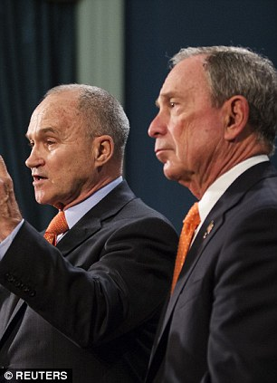 New York Police Department Commissioner Ray Kelly (left) speaks as Mayor Bloomberg watches during a news conference to discuss the Boston Marathon bombing suspects plan