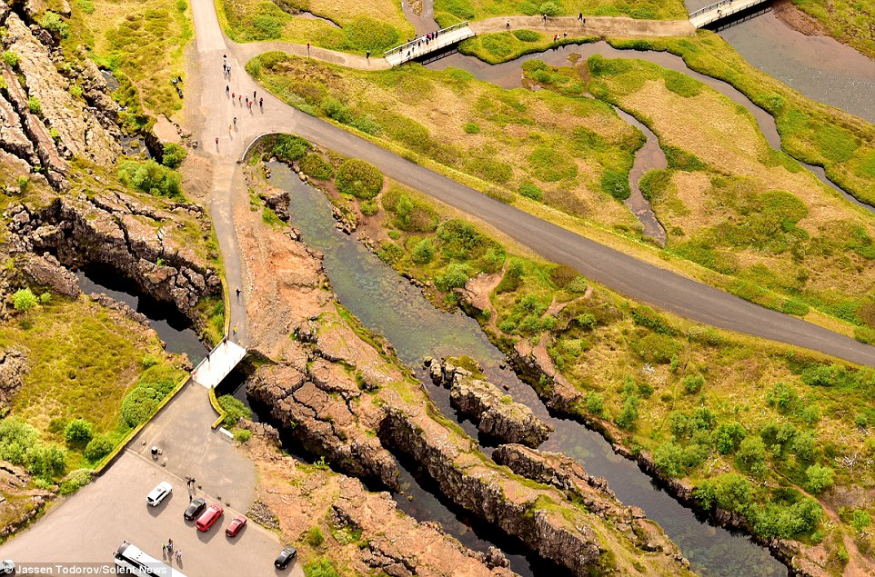 To take the colourful photos Jassen Todorov, 40, flew in a Cessna 170 plane around 600m (2,000 feet) high