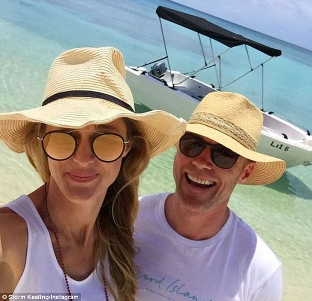Out and about: The loved-up couple, who married last October, also spent the weekend enjoying a boat ride to a private island