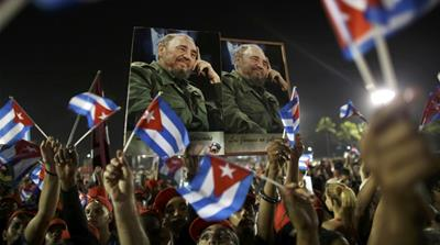 Cuban President Raul Castro speaks at a tribute to his brother [Carlos Garcia Rawlins/Reuters]