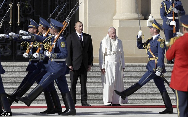 The Pontiff, pictured in Azerbaijan on Sunday, has previously been critical over the continued use of the death penalty