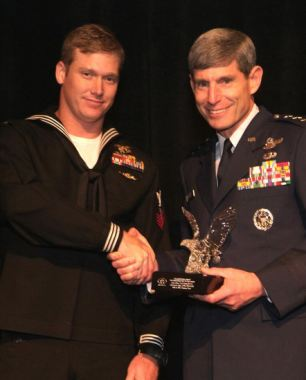 Grateful nation: Kyle receiving an award from the Jewish Institute for National Security Affairs