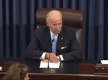 In this image from video from Senate Television, Vice President Joe Biden presides over the Senate at the U.S. Capitol in Washington, Monday, Dec. 5, 2016. A bipartisan bill to speed government drug approvals and bolster biomedical research cleared its last procedural hurdle in the Senate on Monday in an emotional moment for Biden. The overwhelming 85-13 vote put the measure on track for final legislative approval by the Senate as early as Tuesday. (Senate TV via AP)