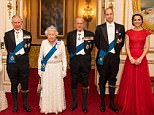 (Left to right) The Duchess of Cornwall, the Prince of Wales, Queen Elizabeth II, the Duke of Edinburgh, and Duke and Duchess of Cambridge arrive for the annual evening reception for members of the Diplomatic Corps at Buckingham Palace, London. PRESS ASSOCIATION Photo. Picture date: Thursday December 8, 2016. Photo credit should read: Dominic Lipinski/PA Wire