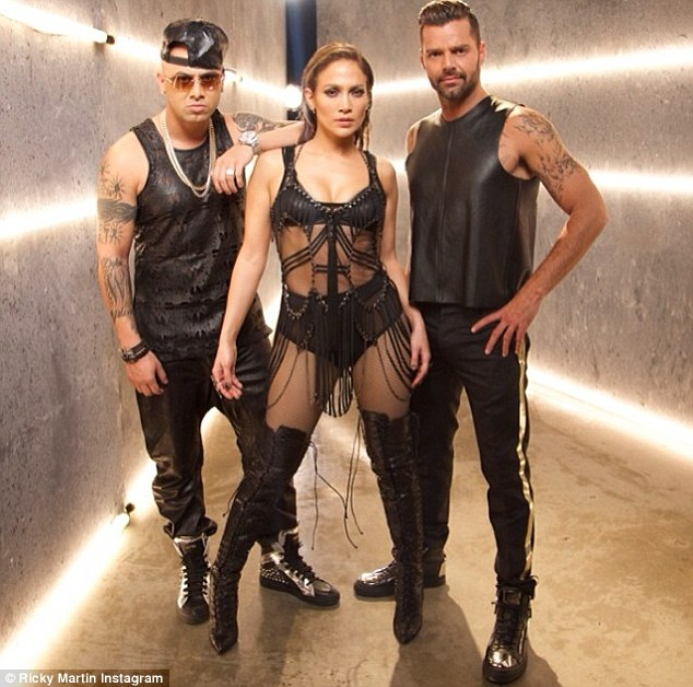 Fierce: Ricky Martin shared this snap of his video work with J-Lo and Casper Smart
