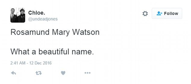 Discussion: Viewers speculated over the choice of the Watsons' daughter's name