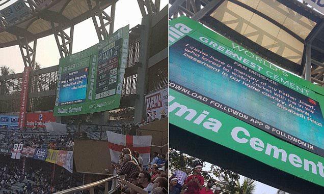 India vs England cricket Test matchsees Madeleine McCann and Adam Johnson jokes on screen