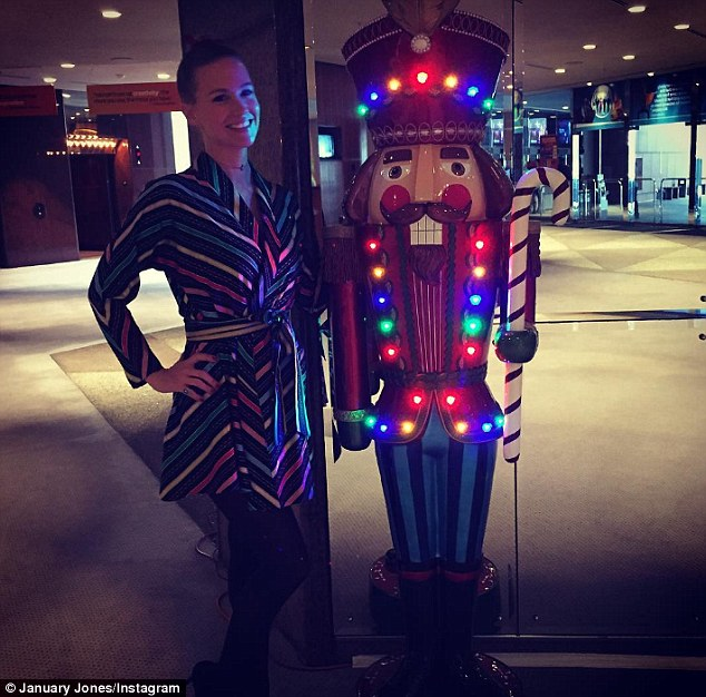 Pa rum pum pum pum: The actress proudly posed with a Nutcracker statue over the weekend