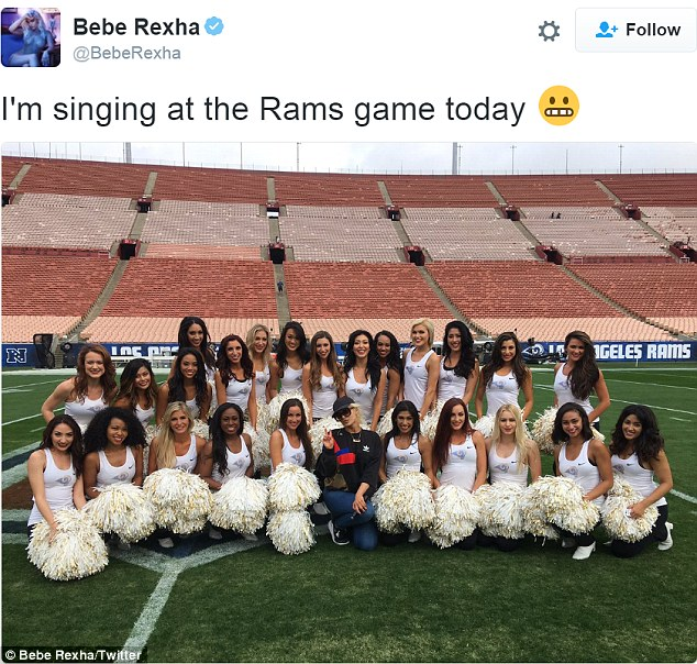 Girl power: She also shared a snap alongside the cheerleaders
