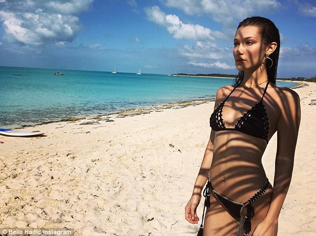 Beach babe: Bella did an impromptu beach photo shoot which she shared on Instagram