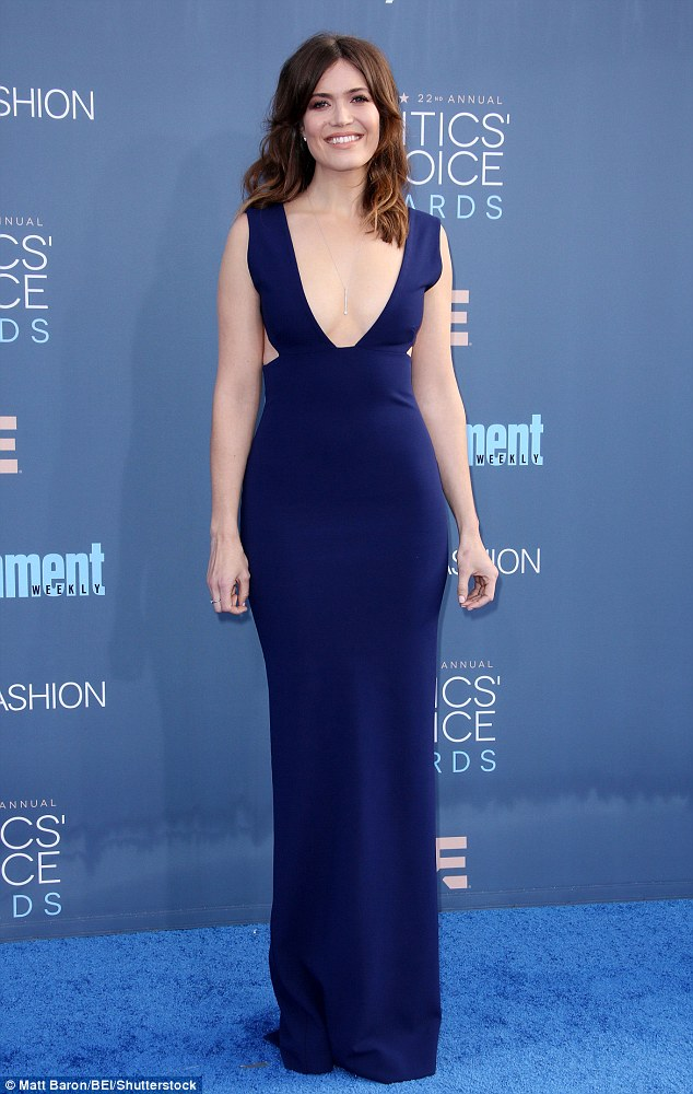 Babe in blue: Mandy Moore was simply stunning at the annual Critics' Choice Awards at the Barker Hanger in Santa Monica, California, on Sunday