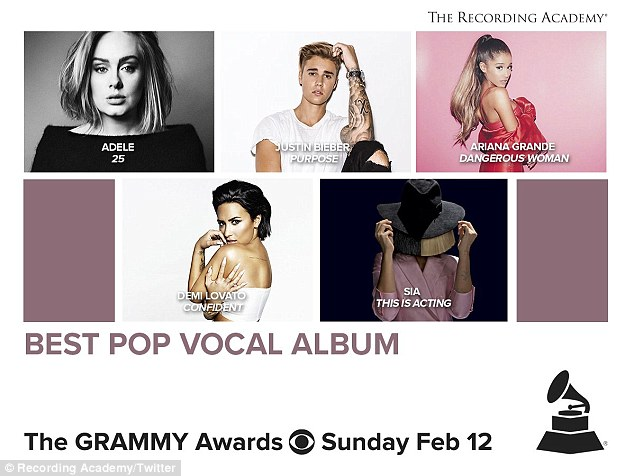 Who will win?The Dangerous Woman singer is up for best pop vocal album and best pop solo performance when the Grammy Awards air February 12 on CBS