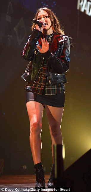 'Boston was one of the best yet!' Daya - born Grace Tandon - performed her hit Don't Let Me Down while clad in a motorcycle jacket and mini-skirt selected by stylist Andrew Gelwicks