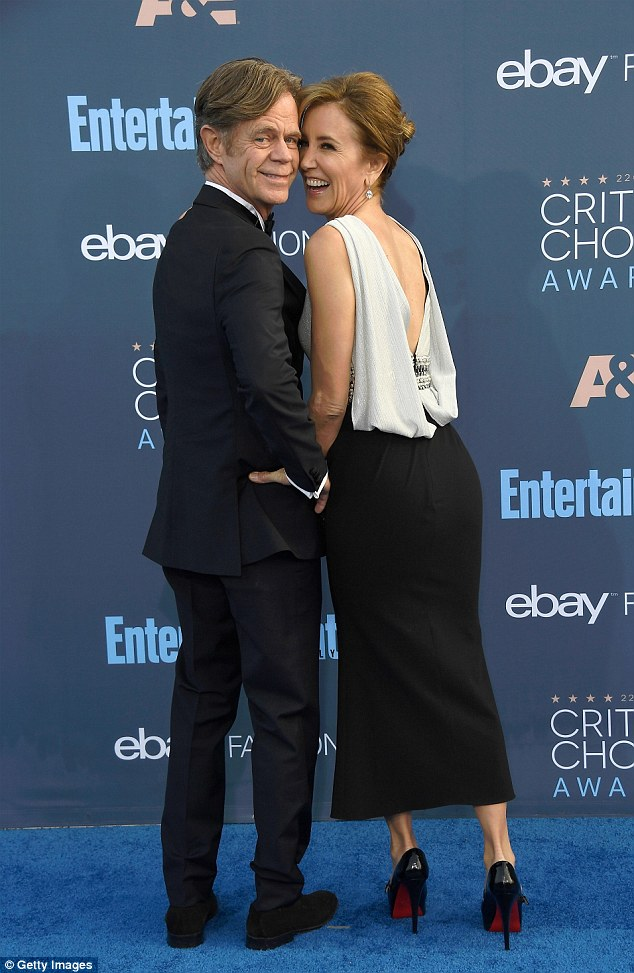 All smiles: William H Macy and Felicity Hoffman seemed to be having a marvellous time on the blue carpet at the Critics' Choice Awards on Sunday night